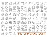 100 Set of universal icons for web and mobile. Big package of modern minimalistic, thin line icons. 100 Set of universal icons for web and mobile. Big package stock illustration