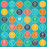 Set of universal modern thin line icons for web and mobile on colorful background Stock Photo