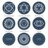 Set of universal plain chakras icons Stock Photos
