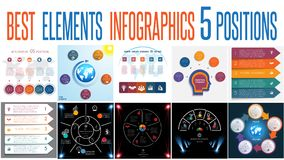 Set 10 universal templates elements Infographics for 5 positions. Set 10 universal templates elements Infographics conceptual cyclic processes for 5 positions vector illustration