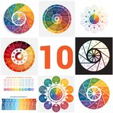 Set universal templates elements Infographics conceptual cyclic. Processes for 10 positions possible to use for workflow, banner, diagram, web design, timeline Royalty Free Stock Image
