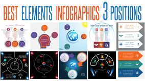 Set 10 universal templates elements Infographics for 3 positions. Set 10 universal templates elements Infographics conceptual cyclic processes for 3 positions vector illustration