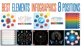 Set 10 universal templates elements Infographics for 8 positions. Set 10 universal templates elements Infographics conceptual cyclic processes for 8 positions royalty free illustration