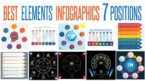 Set 10 universal templates elements Infographics for 7 positions. Set 10 universal templates elements Infographics conceptual cyclic processes for 7 positions vector illustration