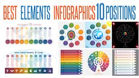 Set 8 universal templates elements Infographics for 10 positions. Set 8 universal templates elements Infographics conceptual cyclic processes for 10 positions vector illustration