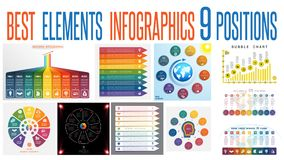 Set 10 universal templates elements Infographics for 9 positions. Set 10 universal templates elements Infographics conceptual cyclic processes for 9 positions stock illustration
