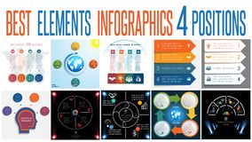 Set 10 universal templates elements Infographics for 4 positions. Set 10 universal templates elements Infographics conceptual cyclic processes for 4 positions vector illustration