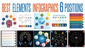 Set 10 universal templates elements Infographics for 6 positions. Set 10 universal templates elements Infographics conceptual cyclic processes for 6 positions stock illustration