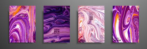 Set of universal vector cards. Liquid marble texture. Colorful design for invitation, placard, brochure, poster, banner. Flyer. Artistic covers design Royalty Free Illustration