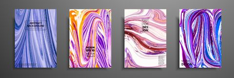 Set of universal vector cards. Liquid marble texture. Colorful design for invitation, placard, brochure, poster, banner. Flyer. Artistic covers design Stock Illustration