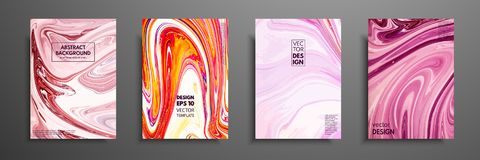 Set of universal vector cards. Liquid marble texture. Colorful design for invitation, placard, brochure, poster, banner. Flyer. Artistic covers design Vector Illustration