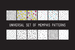 Set of universal vector fashion geometric seamless patterns. Color flat repeated trendy design elements in black, white, memphis style. For package, wallpaper Stock Illustration