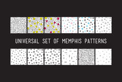 Set of universal vector fashion geometric seamless patterns. Color flat repeated trendy design elements in black, white, memphis style. For package, wallpaper Vector Illustration