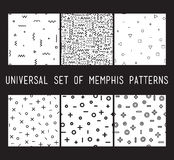 Set of universal vector fashion geometric seamless patterns. Flat repeated trendy design elements in black, white, memphis style. For package, wallpaper Royalty Free Illustration