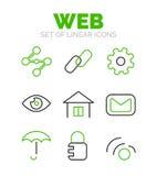 Set of universal web icons, flat minimal linear thin style. Vector symbols isolated on white, orange and black colors Stock Photos