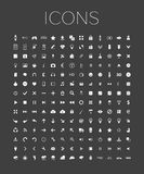 Set of universal web icons on a gray background. Set of web icons for business, finance, communication, media, sports, weather, applications and smart devices Royalty Free Stock Photos