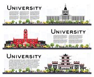 Set of University Campus Study Banners Isolated on White. Vector Illustration. Students Go to the Main Building of University. Skyline with Green Tree. Banner vector illustration