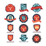 Set of university and college school and logo emblems Stock Image