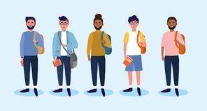 Set university men with casual clothes and backpack vector illustration