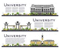 Set of University Study Banners Isolated on White. Vector Illustration. Students Go to the Main Building of University. Skyline with Green Tree. Banner with Stock Images