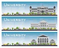 Set uniwersyteccy nauka sztandary również zwrócić corel ilustracji wektora ilustracja wektor