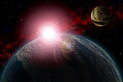 Unknown planet. Color star, sun, moon, stars, space nebula. Basis: author`s phototextures. Set of unknown planets, with atmospheres of different colors, star Stock Photography