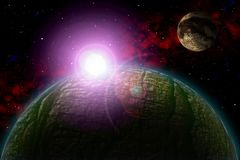 Unknown planet. Color star, sun, moon, stars, space nebula. Basis: author`s phototextures. Set of unknown planets, with atmospheres of different colors, star Royalty Free Stock Image