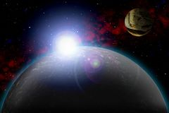 Unknown planet. Color star, sun, moon, stars, space nebula. Basis: author`s phototextures. Set of unknown planets, with atmospheres of different colors, star Royalty Free Stock Images