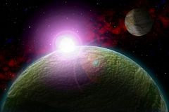 Unknown planet. Color star, sun, moon, stars, space nebula. Basis: author`s phototextures. Set of unknown planets, with atmospheres of different colors, star Royalty Free Stock Photos