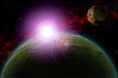 Unknown planet. Color star, sun, moon, stars, space nebula. Basis: author`s phototextures. Set of unknown planets, with atmospheres of different colors, star Stock Images