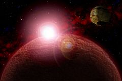Unknown planet. Color star, sun, moon, stars, space nebula. Basis: author`s phototextures. Set of unknown planets, with atmospheres of different colors, star Stock Photos