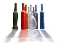 Set of unlabeled beautiful bottles isolated over white Stock Photo