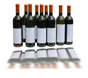 Set of unlabeled wine bottles  over white Stock Photos