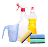 Set of unlabeleled cleaning products Royalty Free Stock Photo