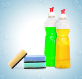 Set of unlabeleled cleaning products Stock Image