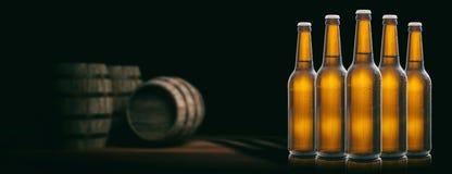 Beer bottles on wooden barrels background. 3d illustration. Set of unopened beer bottles in a brewery, wooden barrels background. 3d illustration Royalty Free Stock Image