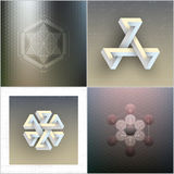 Set of unreal impossible geometric figures Royalty Free Stock Photo