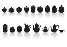 Set unterschiedliche Gläser und Tonwaren Stockfoto