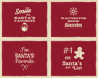 Set of unusual Christmas funny signs, quotes. Set of unusual Christmas funny signs quotes backgrounds designs for kids-i'm santa's favorite. Nice retro palette Royalty Free Stock Photography