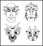 Set of unusual hand draw illustration with a male Royalty Free Stock Photography