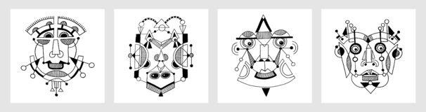Set of unusual hand draw illustration with a male face portrait. In flat geometric style royalty free illustration