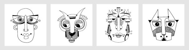 Set of unusual hand draw illustration with a male face portrait. In flat geometric style stock illustration