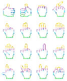 Set of unusual pixelated hand icons. Royalty Free Stock Photography