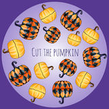 Set of unusual pumpkins, decor Royalty Free Stock Photos