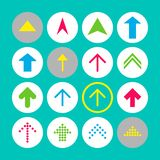 Set of 16 up arrow icons. Arrow buttons on turquoise background in white, gray and transparent circles royalty free illustration