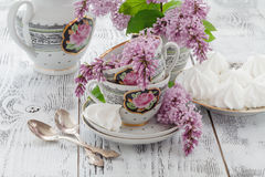 Set up with boho style lilac flower decoration Stock Images