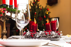 Set up christmas table Royalty Free Stock Photo