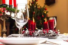 Set up christmas table Royalty Free Stock Photo