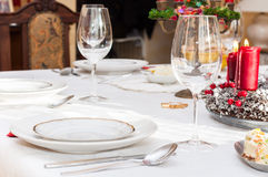 Set up christmas table Royalty Free Stock Image