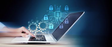 Set up cybersecurity technology protection concept